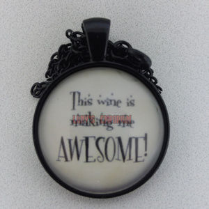 Awesome Wine Glass Cabochon Necklace